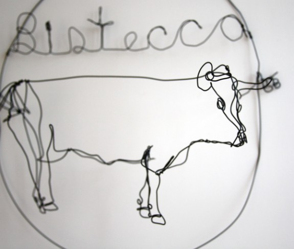 bistecca wire sculpture by Food Woolf Brooke Burton