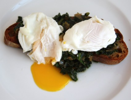 poached eggs and kale main